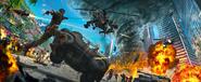 JC4 artwork (helicopter, flipped car and weird artillery truck)