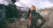 JC4 Gabriela next to a helicopter (eye of the storm trailer)