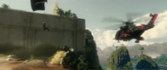JC4 screenshot from trailer Rico ramming motorcycle into helicopter
