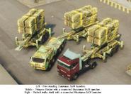 Huntsman SAMs connected to trucks (left front corners)