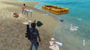 JC3 guy in underwear, near a raft