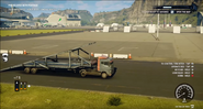 JC4 truck with car transporter trailer (as a ramp)