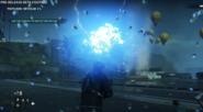 Powerful blue lightning strike