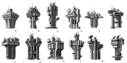 JC4 concept drawings of 12 different base towers