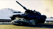JC4 tank crushing a car in the story trailer