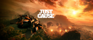 JC4 Wingsuiting in an orange sky with some helicopters