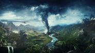 JC4 artwork (mountains, river, tornado, helicopter)