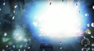 Powerful blue lightning explosion