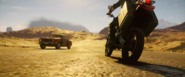 JC4 old car and some motorcycle on a desert road