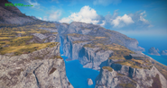 JC3 development image with a cut building near the ravine