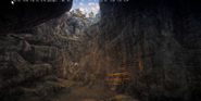 JC3 artwork of a large cave with a crashed bus
