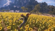 JC3 wingsuit and sunflowers