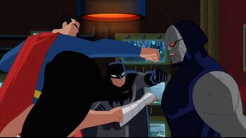 """The Justice League say, """"Read the hand, Darkseid."""""""