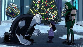Scary Solomon Grundy seasonally softens to be Keely's Santa.