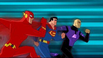 Luthor's aerodynamic streamlining gives him the edge.