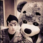 Justin Bieber and giant bear