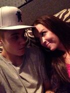 Justin Bieber looking at his mom