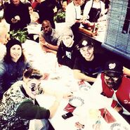 Justin Bieber with the crew