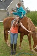 Justin on Caitlin's horse