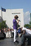 Justin singing at Family Frenzy in Syracuse, NY