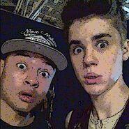 Alfredo Flores and Justin Bieber on set