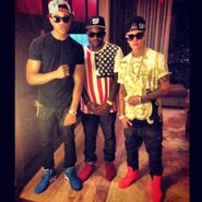 Maejor Ali, DJ Tay James and Justin Bieber