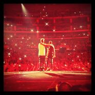 Justin and Jaden on stage Believe Tour