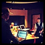 Kanye West and Justin Bieber in the studio 2012 for the Believe album