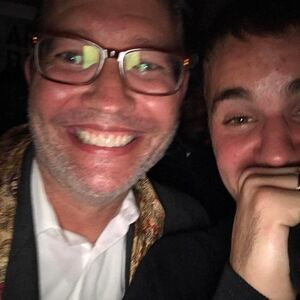 Tom Strahle and Justin Bieber at Poo Bear's Grammy party.jpg