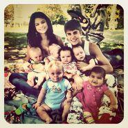 Justin Bieber and Selena Gomez with children