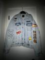 Mixed media trucker jacket - bleached indigo