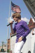 Justin Bieber singing at Family Frenzy