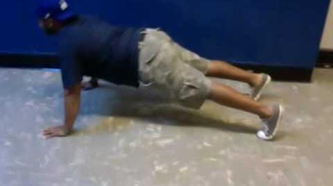 Kenny does pushups