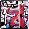 Justin Bieber with Spiderman and Elmo