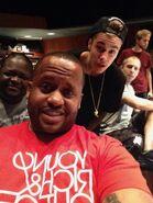 Justin Bieber in the studio with Poo Bear and Josh Gudwin