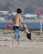 Justin Bieber playing with Jaxon Bieber