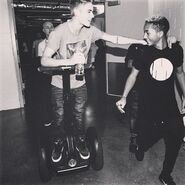 Justin and Jaden backstage at Believe Tour