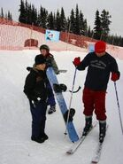Justin Bieber snowboarding with his dad