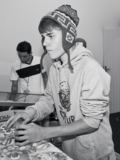 Justin Bieber playing a game 2011