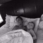 Justin and his brother sleeping