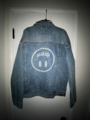 Upside down mascot trucker jacket - vintage bleach wash
