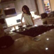 Selena Gomez in Justin's kitchen