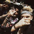 Dan Kanter, Justin Bieber and Cody Simpson in studio