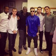 Justin Bieber with his crew in France