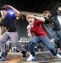 Justin and his dancers at Rock the Rapids 2009