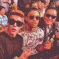 Justin Bieber and Maejor Ali and Psy on the first row