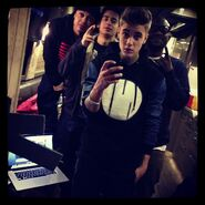 Justin with the crew on the bus