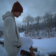 Justin Bieber in the snow 2015