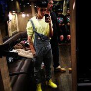 Justin Bieber wears overalls