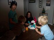 Justin Bieber playing with Play-Doh